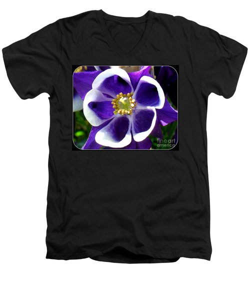 Men's V-Neck T-Shirt featuring the photograph The Columbine Flower by Patti Whitten