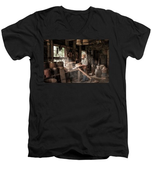 Men's V-Neck T-Shirt featuring the photograph The Cooper - 19th Century Artisan In His Workshop  by Gary Heller