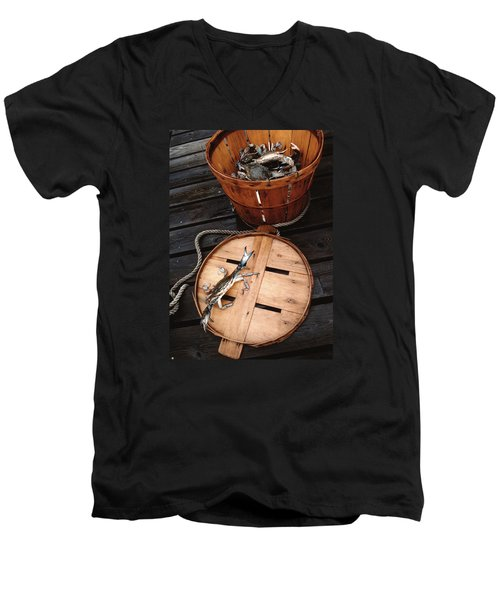 The Cranky Crab Men's V-Neck T-Shirt by Skip Willits
