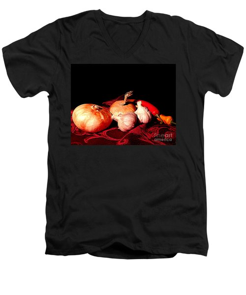 New Orleans Onions, Garlic, Red Chili Pepper Used In Creole Cooking A Still Life Men's V-Neck T-Shirt by Michael Hoard