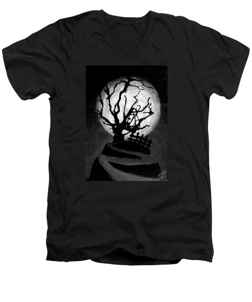Men's V-Neck T-Shirt featuring the painting The Crooked Tree by Salman Ravish