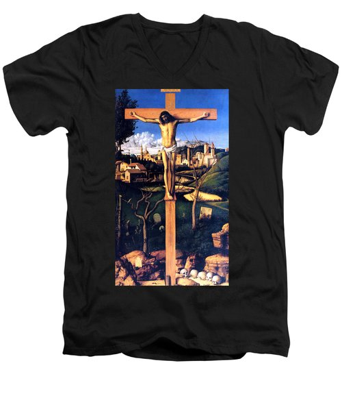 Men's V-Neck T-Shirt featuring the painting The Crucifixion 1503 Giovanni Bellini by Karon Melillo DeVega