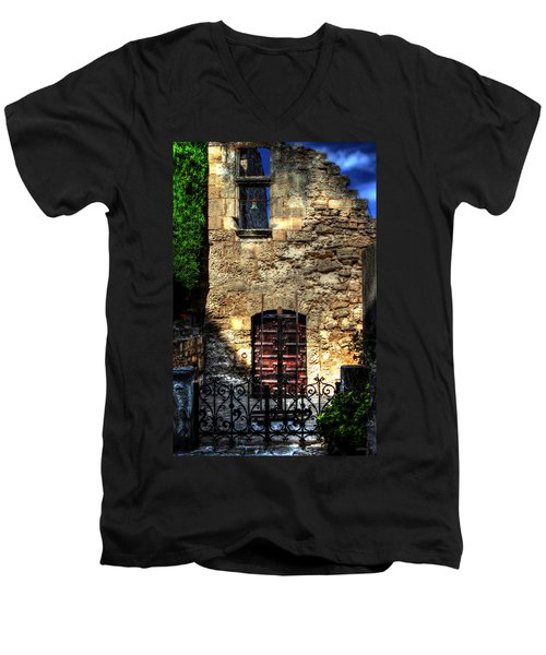 Men's V-Neck T-Shirt featuring the photograph The Cypress And The Bell France by Tom Prendergast