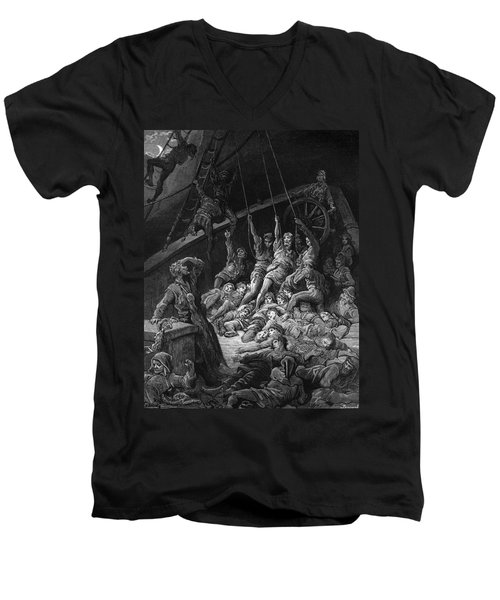 The Dead Sailors Rise Up And Start To Work The Ropes Of The Ship So That It Begins To Move Men's V-Neck T-Shirt by Gustave Dore