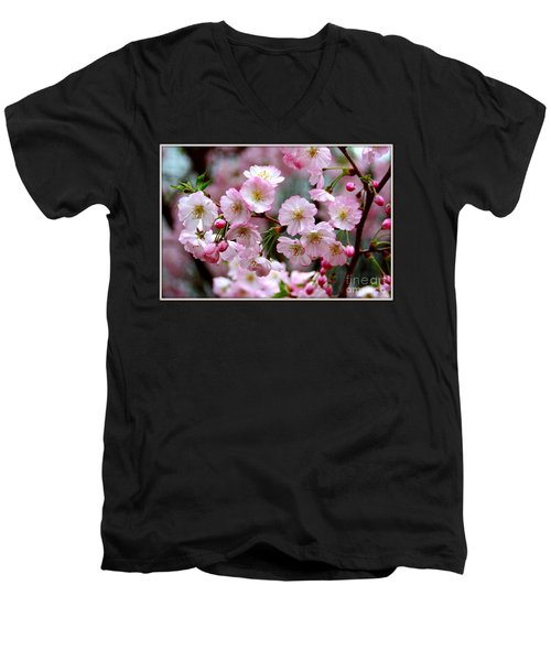 Men's V-Neck T-Shirt featuring the photograph The Delicate Cherry Blossoms by Patti Whitten