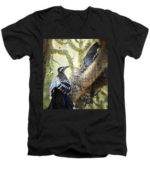 The Dove Vs. The Roadrunner Men's V-Neck T-Shirt by Saija  Lehtonen