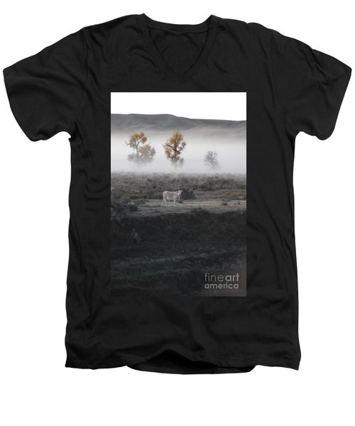 Men's V-Neck T-Shirt featuring the photograph The Dream Cow Of Mourning by Brian Boyle