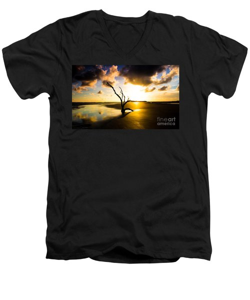 Men's V-Neck T-Shirt featuring the photograph The Driftwood Tree Folly Beach by Donnie Whitaker