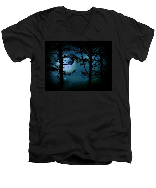 Men's V-Neck T-Shirt featuring the photograph The Edge Of Twilight  by Micki Findlay