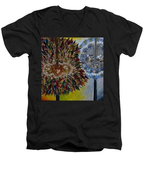 Men's V-Neck T-Shirt featuring the tapestry - textile The Egungun by Apanaki Temitayo M