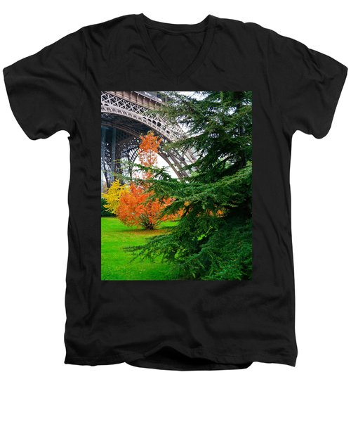 The Eiffel In Fall Men's V-Neck T-Shirt
