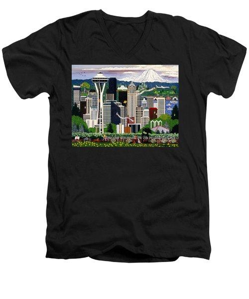 The Emerald City Seattle Men's V-Neck T-Shirt by Jennifer Lake