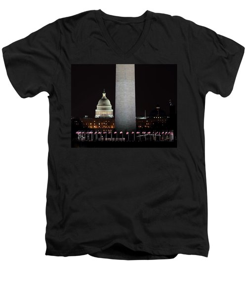 The Essence Of Washington At Night Men's V-Neck T-Shirt