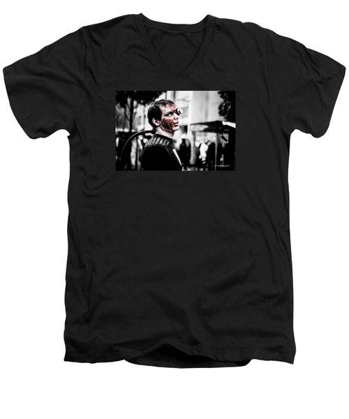 Men's V-Neck T-Shirt featuring the photograph The Fake Zombie Robot by Stwayne Keubrick