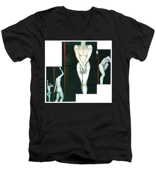 Men's V-Neck T-Shirt featuring the painting The Female Trunks by Fei A