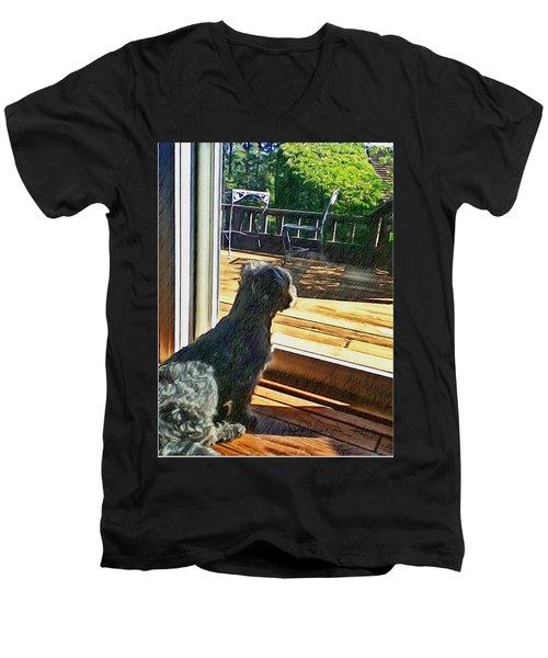 The Fluffy Watcher Men's V-Neck T-Shirt