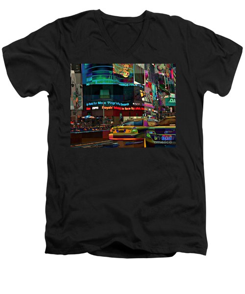 The Fluidity Of Light - Times Square Men's V-Neck T-Shirt by Miriam Danar