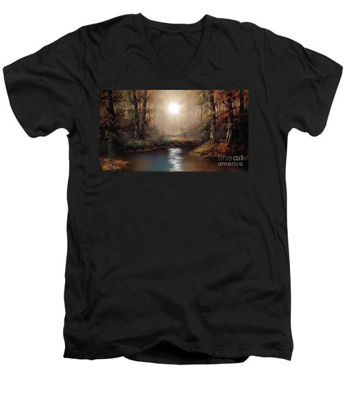 Sunrise Forest  Men's V-Neck T-Shirt by Michael Rucker