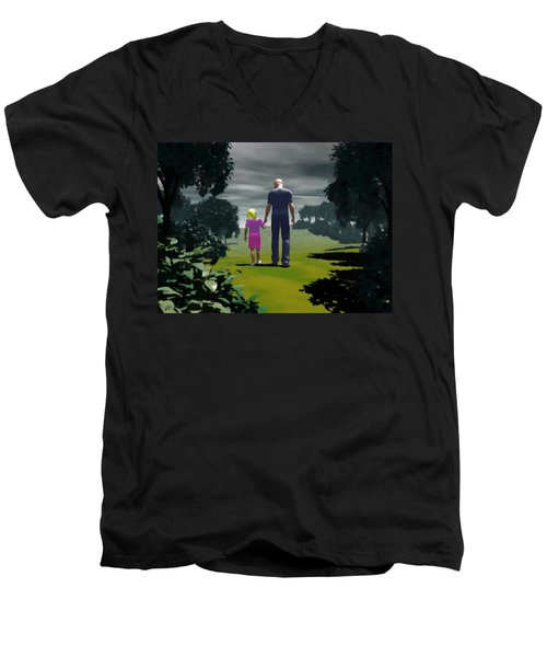 Men's V-Neck T-Shirt featuring the digital art The Gift Of Being 'daddy' by John Alexander