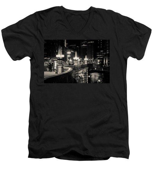 The Glow Over The River Men's V-Neck T-Shirt by Melinda Ledsome