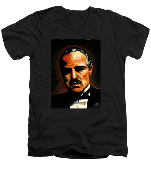 Men's V-Neck T-Shirt featuring the painting Godfather by Salman Ravish