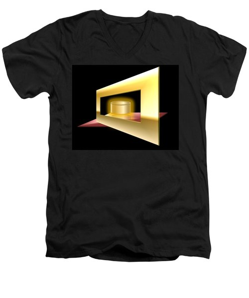 Men's V-Neck T-Shirt featuring the digital art The Golden Can by Cyril Maza