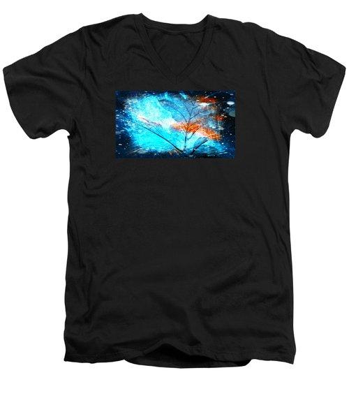 The Blue Grand Leaves Men's V-Neck T-Shirt