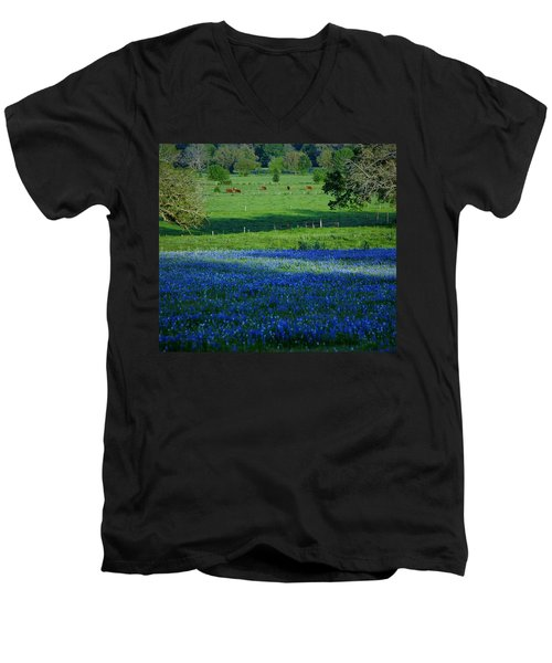 Men's V-Neck T-Shirt featuring the photograph The Pastures Of Central Texas by John Glass