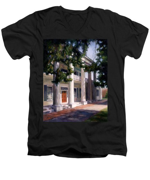 Men's V-Neck T-Shirt featuring the painting The Hermitage by Janet King