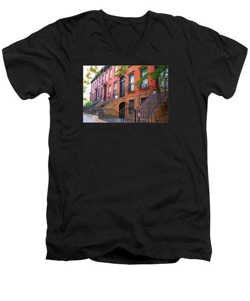The Historic Brownstones Of Brooklyn Men's V-Neck T-Shirt by Dora Sofia Caputo Photographic Art and Design
