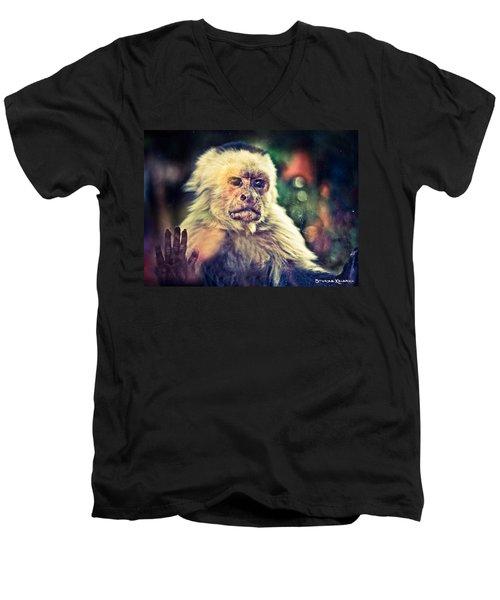 Men's V-Neck T-Shirt featuring the photograph The Hopeless Ape by Stwayne Keubrick