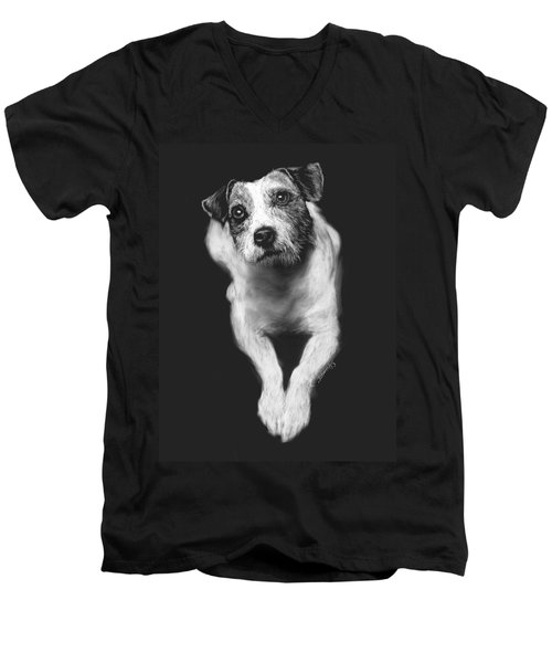 Men's V-Neck T-Shirt featuring the drawing The Jack Russell Stare- Got Ball? by Rachel Hames