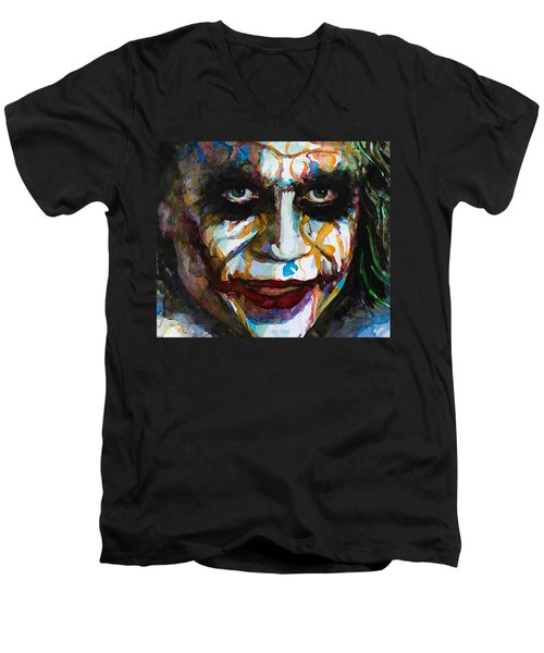 Men's V-Neck T-Shirt featuring the painting The Joker - Ledger by Laur Iduc