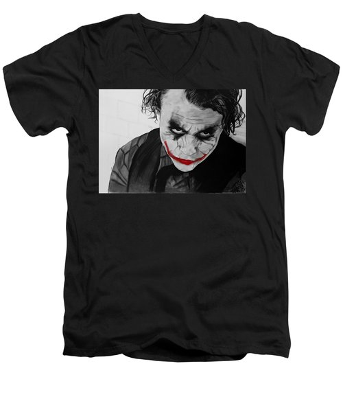 The Joker Men's V-Neck T-Shirt by Robert Bateman