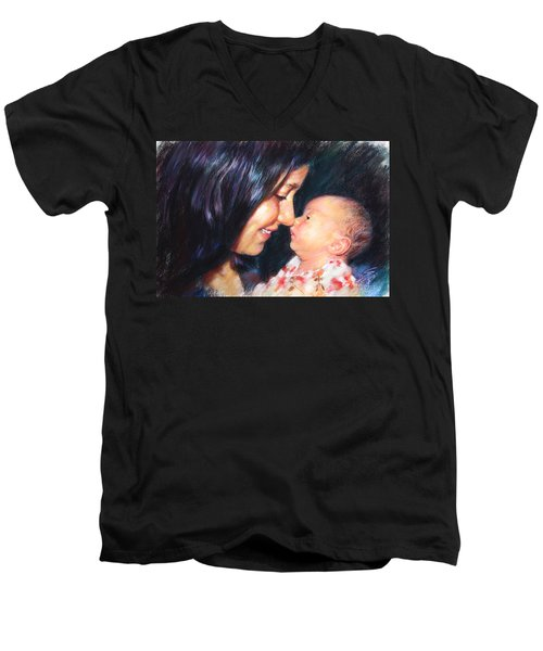 Men's V-Neck T-Shirt featuring the drawing The Joy Of A Young Mother by Viola El