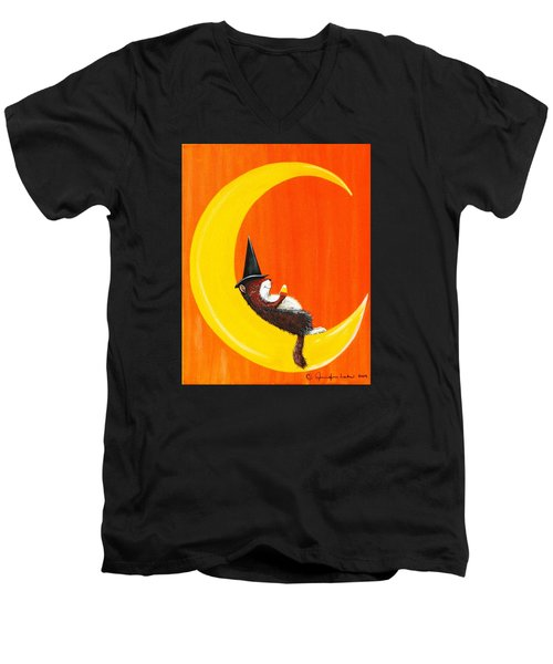 Men's V-Neck T-Shirt featuring the painting The Joy Of Halloween by Jennifer Lake