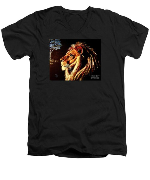 Men's V-Neck T-Shirt featuring the painting the King by Viktor Lazarev