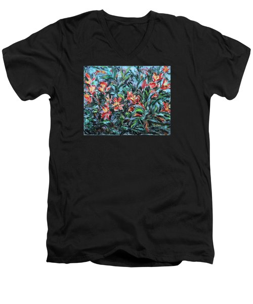 Men's V-Neck T-Shirt featuring the painting The Late Bloomers by Xueling Zou