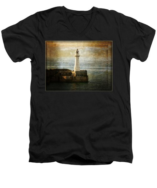 The Lighthouse Men's V-Neck T-Shirt by Lucinda Walter