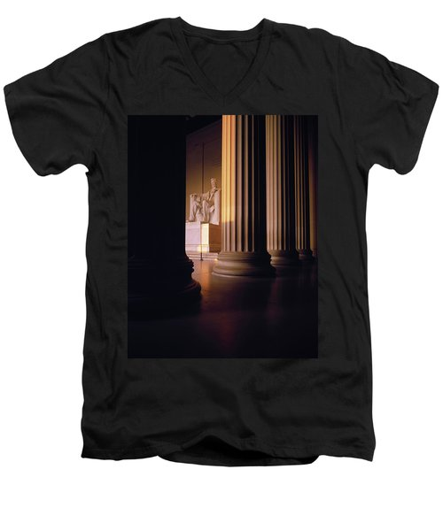 The Lincoln Memorial In The Morning Men's V-Neck T-Shirt by Panoramic Images