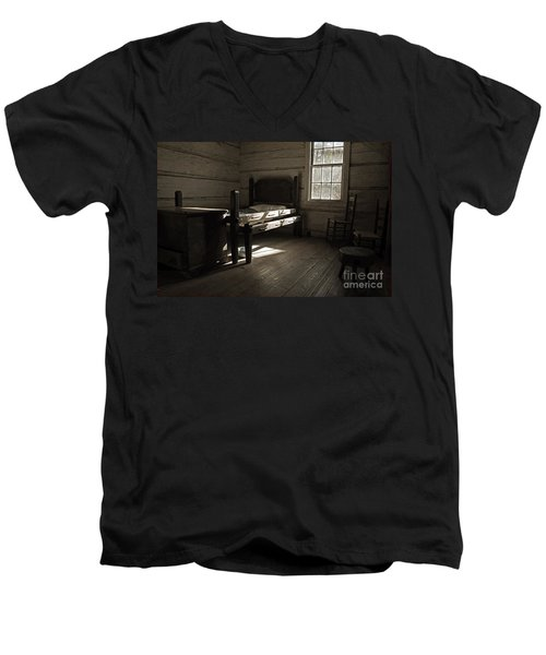 Men's V-Neck T-Shirt featuring the photograph The Log Cabin C.1785 by Robert Meanor