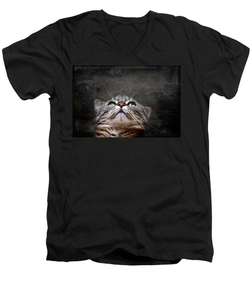 Men's V-Neck T-Shirt featuring the photograph The Look by Annie Snel
