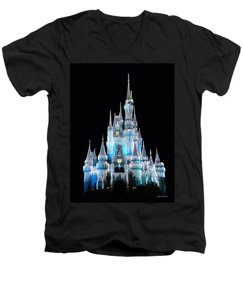 The Magic Kingdom Castle In Frosty Light Blue Walt Disney World Men's V-Neck T-Shirt by Thomas Woolworth