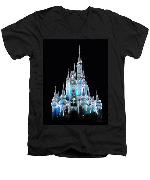 The Magic Kingdom Castle In Frosty Light Blue Walt Disney World Men's V-Neck T-Shirt