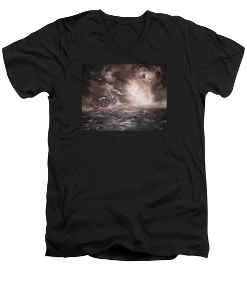 Men's V-Neck T-Shirt featuring the painting The Merchant Royal by Jean Walker