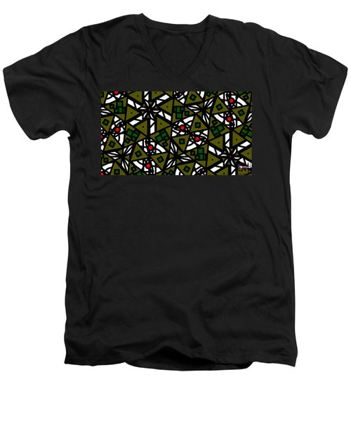 Men's V-Neck T-Shirt featuring the digital art The Mess Behind It by Elizabeth McTaggart