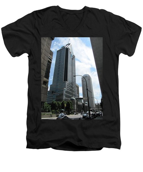 Men's V-Neck T-Shirt featuring the photograph The Montreal Skyscraper by Shawn Dall