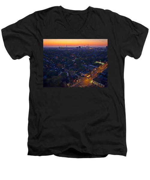 The Morning Bus Men's V-Neck T-Shirt by Keith Armstrong
