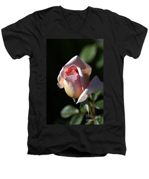 The Morning Pink Rose Men's V-Neck T-Shirt