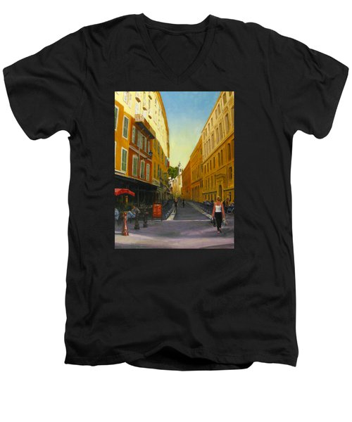The Morning's Shopping In Vieux Nice Men's V-Neck T-Shirt by Connie Schaertl